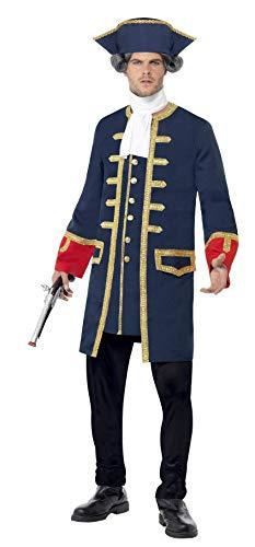 Smiffys Herren Piraten-Kommandant Kostüm, Mantel und Hut, Größe: L, 24168 (Mantel Kostüm Piraten)
