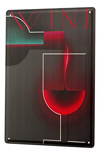 Nostalgique Plaque Émaillée Alcool Retro Deco Vin rouge bouteille verre Publicité Signes En Métal 20X30 cm