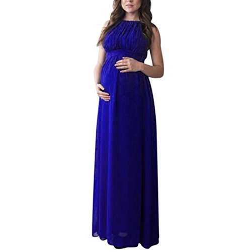 ere, FEITONG Damen Umstandskleid Chiffon Kleid Jerseykleid Schwangerschafts Kleid Tank Kleid Prinzessin Kleid Ärmellose Rundhals Kleid Fotografie Kleidung Maxikleid (2XL, Blau) (Schwangerschaft T-shirts Für Halloween)