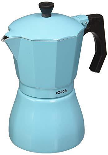 Jocca Sky Blue - Cafetera Italiana, Aluminio, Color Negro, 16,6 x 10,2 x 19 cm