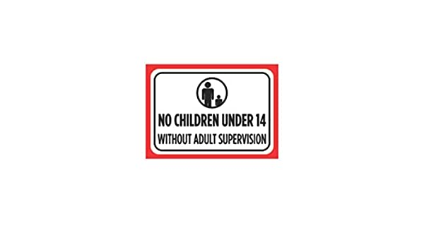 Aluminum Metal No Children Under 12 Without Adult Supervision Print Large Black Red White Poster Picture Symbo 12x18