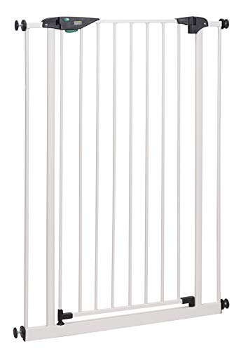 BOMI Türschutzgitter 73-141 cm | Extra Hoch | Ohne Bohren | Schließt automatisch | Tuerschutzgitter weiß Metall Selbstschließend | Treppengitter zum Klemmen für Baby