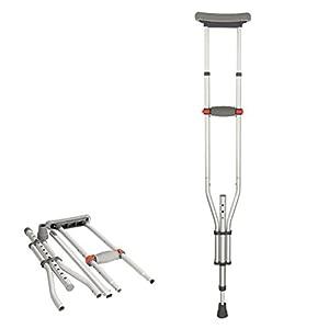 Dbtxwd Faltbare Achselkrücken, Aluminium Leichte Verstellbare Axilla Unter Arm Krücken Für Behinderte Ältere Mobilität Zubehör