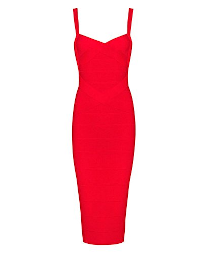 Whoinshop Women's Rayon Strap Mid-calf Length Evening Party Bandage Prom Dress (XL, rot) -