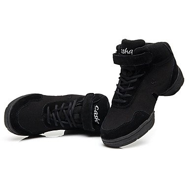 Frauen Tanzschuhe Stoff Leinwand Modern Sneakers Split Sole Low Heel Performance Black