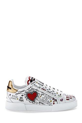 Dolce E Gabbana Femme CK1545AS864HWP52 Blanc Cuir Baskets