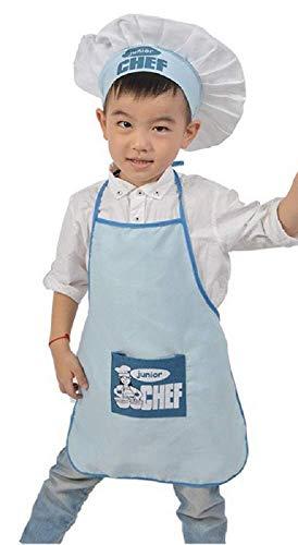 Inception pro infinite Blau - Einheitsgröße Kostüm Uniform Koch Junior Kinder Hut Schürze Verkleidung Karneval Halloween Cosplay Zubehör Unisex Kind Mädchen