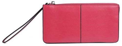 Yaluxe Donna pelle Pochette da giornoes Borsa con Trageschlaufe adatto Iphone6 Plus / Samsung Galaxy S4 (Confezioni Regalo) Pink