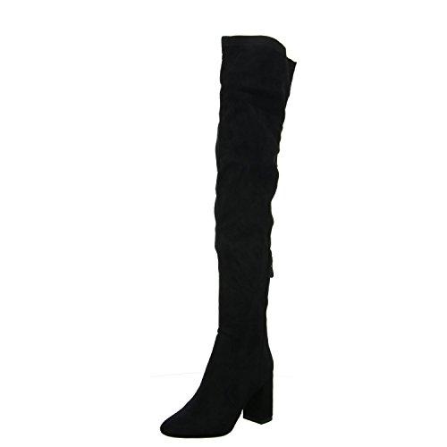 Gatos Z2865-p284 Das Mulheres Botas Longas Do Eixo Revestimento Frio Elegante Piso Preto (black)