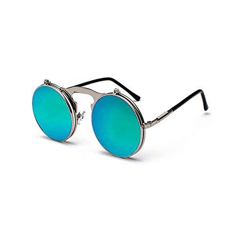 QDE Sonnenbrillen Flip Steampunk Sonnenbrille Männer Runde Uv400 Sonnenbrille Frau Doppelschicht Gläser, Grün Reflektierend