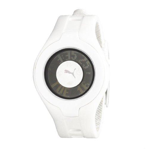 Puma - PU910212001 - Montre Femme - Quartz Digital - Cadran Blanc - Bracelet Caoutchouc Blanc