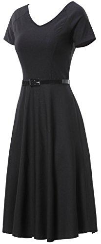 Gigileer Damen Vintage V-Ausschnitt Schwingen Rockabilly Ballkleid Kleider Cocktailkleid Schwarz XL - 3