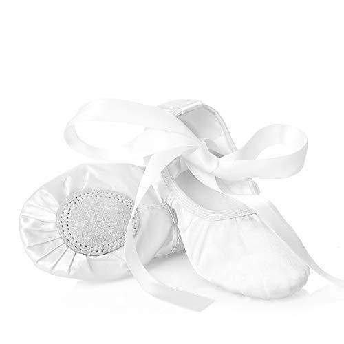 Ballettschuhe Mädchen Tanzschuhe ballettschläppchen Damen bequem Spitzenschuhe Kinder mit Band Rosa, Weiß, 31 EU