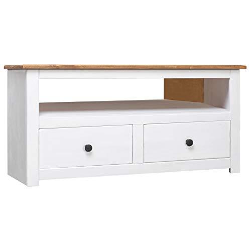 UnfadeMemory TV-Eckschrank TV Schrank 93 x 55 x 49 cm Massivholz Panama-Kiefer Fernsehschrank TV-Board mit 2 Schubladen und 1 offenen Fach Schubladenschrank (Weiß)