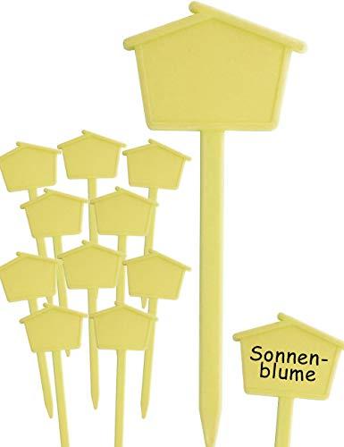 HomeTools.eu® - 10 Pflanz-Schilder | Steck-Etiketten Pflanzen-Stecker | Kunststoff, beschreibbar, für außen, verwitterungsfest | Häuschen, 13,5cm, gelb