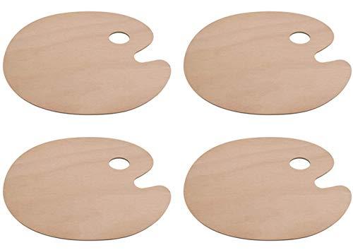 Lawei 4 Stück Holz Malpalette Mischpalette Oval Farbpalette Rund mit Griffloch für Malen Ölfarben Kunst Aquarell, 30 x 40 cm