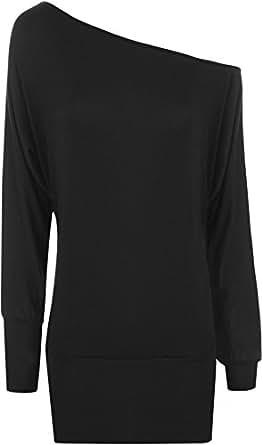 New Ladies Off Shoulder Batwing Long Sleeved Womens Top - Black - 8 / 10