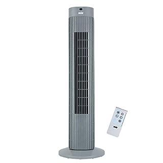 Oszillierender Turmventilator mit Fernsteuerung Säulenventilator 3-stufigem Windmodus mit 3 Drehzahlen und langem Kabel(1,75m). 30 Zoll Grau (Batterien NICHT im enthalten) 2 Jahre Garantie