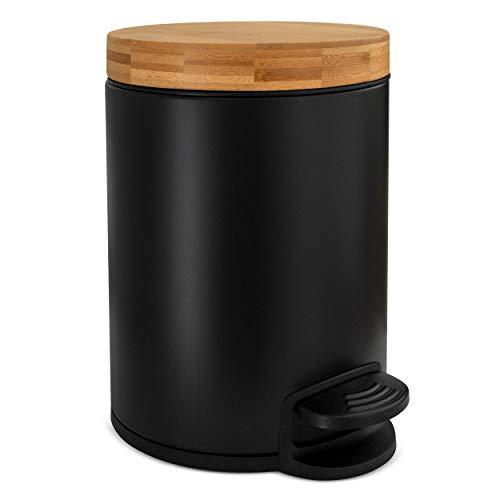 Kazai.® 5l Design Kosmetikeimer | Bambus-Holzdeckel mit Absenkautomatik | Treteimer mit Anti-Fingerabdruck und Komfort-Pedale | Schwarz