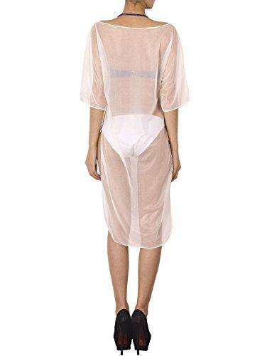 iB-iP Damen High Cut Schlitze Bikini Badeanzug Knielang Vertuschung Tunika Weiß