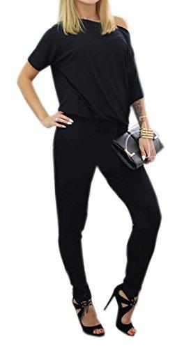 Damen Moderner Overall Jumpsuit mit Gummizug Rundhals Ausschnitt Ärmellos Frauen Overall Party Abendmode S/M L/XL (L/XL, Schwarz)