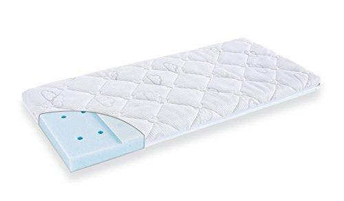 Träumeland Babymatratze Brise Light Exclusiv 43 x 80 x 6 cm für Beistellbett Roba/belüftete Premium-Matratze/punktelastischen Kaltschaumkern/Bezug Sleep-Safety-Multifunktionsstoff mit Tencel-Fasern (43 Luft)