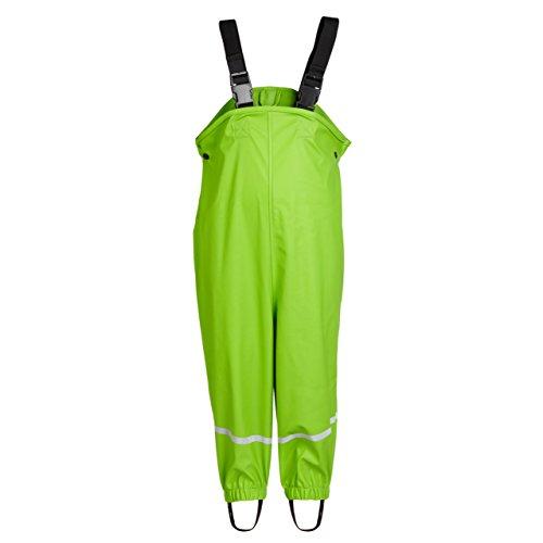 smileBaby wasserdichte Kinder Regenhose Regenlatzhose mit verstellbaren Trägern und Schuhschlaufen Unisex in Grün 104