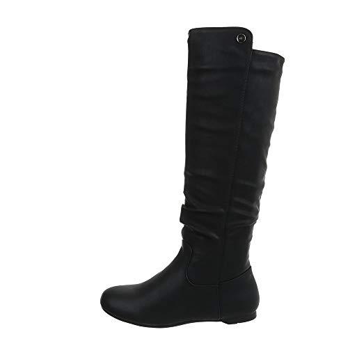 Ital-Design Damenschuhe Stiefel Klassische Stiefel Synthetik Schwarz Gr. 37 (Schwarze Glitzer Stiefel)