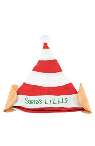 Clever Creations Weihnachtself Hat   Einheitsgröße   rot und weiß gestreift Santa 's Li 'l Elf Hat mit Weiß Pom Pom und Elfen Ohren   Maßnahmen 29,2x 43,2cm Santas Lil Elf