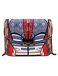 Tradico® Women PU Leather Colorful Flower Printed Mini Chain Bag Messenger Shoulder