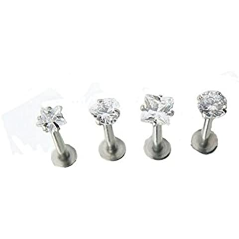 JYP 4x 16g Surgical Gem Steel Tragus Lip Ring Monroe Ear Cartilage Stud Earring Body Piercing by JYP