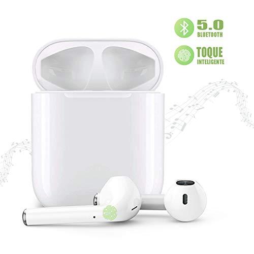 Auriculares Inalámbricos Bluetooth 5.0 con Caja de Carga Rápida, 3D Estéreo Toque Auriculares con HD Mic, Auriculares Inalámbricos para Samsung Android iPhone y Otros Teléfonos Inteligentes
