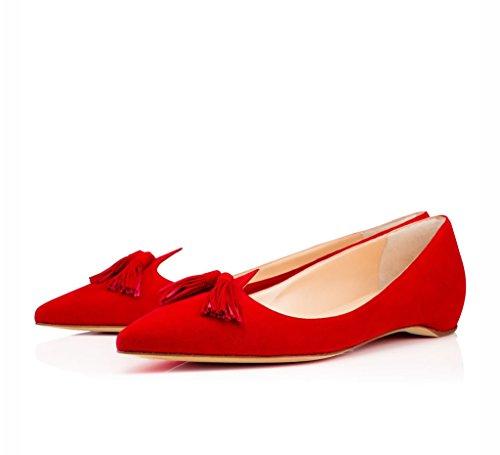 EDEFS Femmes Artisan Fashion Escarpins Classiques Particuliers Franges Bout Pointus Chaussures à talon haut aiguille de 100mm Noir Rouge-Flats