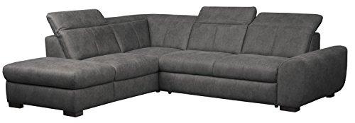 Cavadore Ecksofa Bules mit Ottomane links / Großes Sofa im modernen Design mit verstellbaren Kopfteilen / 274 x 81 x 232 cm (BxHxT) / Kunstleder grau