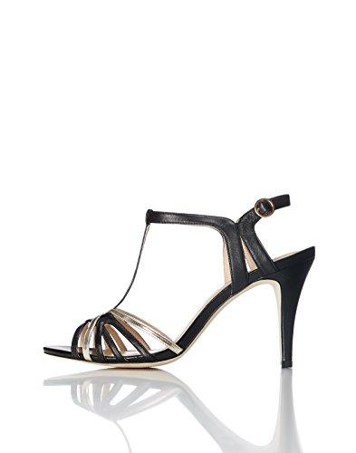 Find sandali con chiusura a t donna, multicolore (black/ champagne), 39 eu