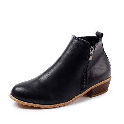 Botines Mujer Invierno Tacon Botas Piel Medio Tacon Ancho Ante Botita 3cm Casual Tobillo Ankle Boots...