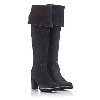 Damen Stiefel Overknees Wildleder-Optik Schuhe 145849 Grau Arriate 39 Flandell lxmBPh6TpM