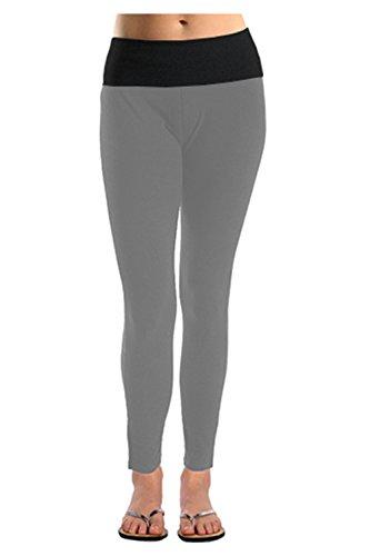 Baumwolle Spandex Leggings (Basicco Damen Leggings aus Baumwolle/Spandex für Yoga/Workout - Schwarz - Groß)