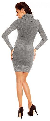 Zeta Ville Maternité Mini robe en maille grossesse col roulé poche - femme 178c Gris