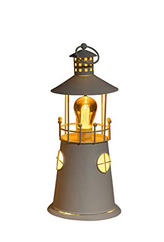 Noma Leuchtturm-Laterne aus Metall mit warmweißen LEDs, Filament-Lampe, 36 cm, Einheitsgröße -
