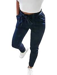 Mujer Falda Lápiz Otoño Cintura Alta Pantalones De Tiempo Libre Rayas  Verticales Bolsillos Delanteros Cómodo con Cinturón Trousers Slim… fd878e5562b0