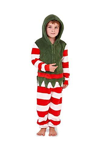 Mädchen Kinder Kapuze Einhorn Bademantel Einteiler Kostüm Nachtwäsche Kuschelig Weihnachten Geschenkidee - Elfe, (Weihnachten Elfen Kostüme Kinder)