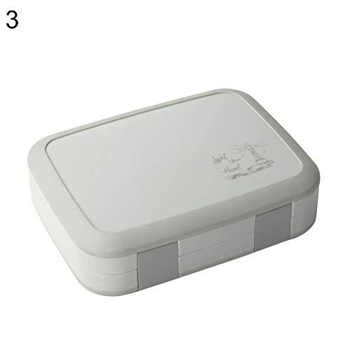 CAheadY 4/5-Grid Lunch Box Tray Tragbare Bento Case Gesunde Flip Kunststoff Lebensmittelbehälter Grey 5-grid (Rosa Lego-lunch-box)