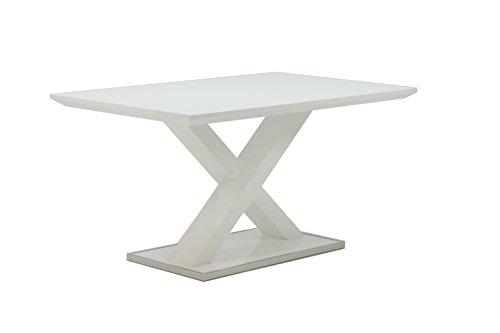 Homexperts Esstisch XAVER / 120 cm Breite / Esszimmertisch in modernem Design mit gekreuzten Beinen / Tisch in Hochglanz Weiß / Rand der Fußplatte Edelstahl poliert / 120x80x75