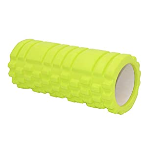 Delicacydex 33cm Eva Hollow Wolf Shaped Yoga Spalte Hollow Foam Achse Balance Bar Pilates Yoga Spalte Sport Yoga Massagestab – Lemon Green