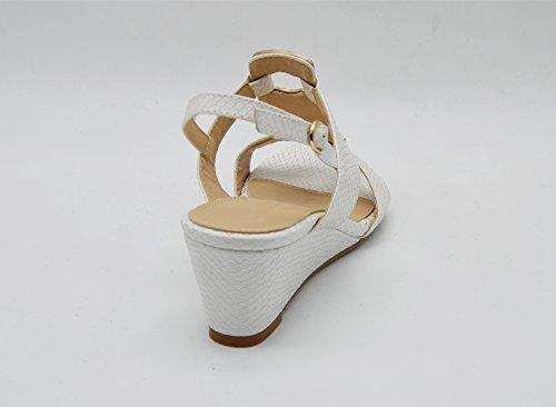 SHT20 * Sandales Nu-Pieds à Talon Compensé avec Brides Motif Ecailles Python et Ornements Métal Strass - Mode Femme Blanc