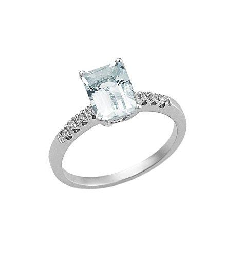 Anello in oro bianco 18k con acquamarina e diamanti - 13