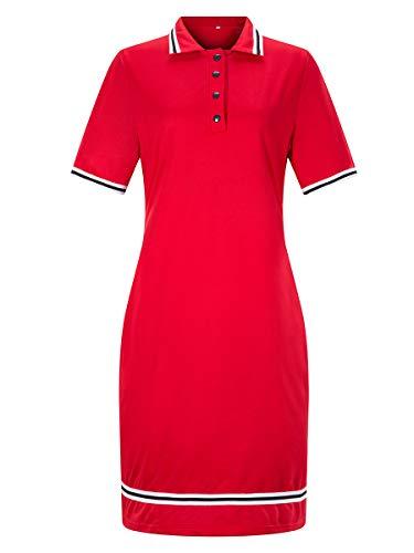 Yieks Damen sportliches Jerseykleid im Polo-Style mit Kurzarm, Rot 46 (Herstellergröße: 4XL) - Rot Gestreiftes Polo Kleid