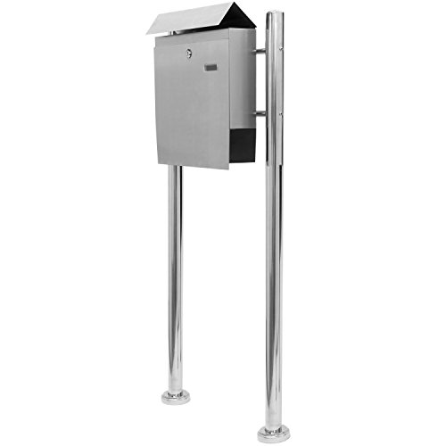 Hochwertiger V2A Edelstahl Standbriefkasten mit Zeitungsfach, 120 cm hoch, Gewicht 5,4 kg - 6