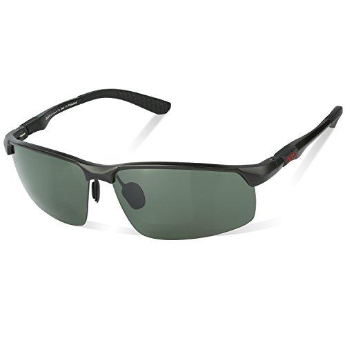 DUCO Herren Heiße Mode Driving Sonnenbrille Polarisierte Brille Sport Eyewear Angeln Golf mit Al-Mg Rahmen 8188 (Schwarz/Grün)